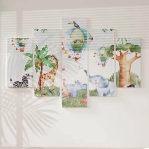 Quadro Decorativo Mosaico LUXO - África estilo Aquarela Excelente qualidade  em vinil autocolante telado LUXO 1,25mt X 0,65cm Impressão Digital MDF - VINIL TELADO LUXO CONTÉM 5 PEÇAS TODAS EM MDF 6mm e impressão digital