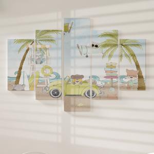 Quadro Decorativo Mosaico LUXO - Animais Amorosos no verão Excelente qualidade  em vinil autocolante telado LUXO 1,25mt X 0,65cm Impressão Digital MDF - VINIL TELADO LUXO CONTÉM 5 PEÇAS TODAS EM MDF 6mm e impressão digital