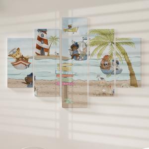 Quadro Decorativo Mosaico LUXO - Animais ao mar Excelente qualidade  em vinil autocolante telado LUXO 1,25mt X 0,65cm Impressão Digital MDF - VINIL TELADO LUXO CONTÉM 5 PEÇAS TODAS EM MDF 6mm e impressão digital