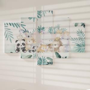 Quadro Decorativo Mosaico LUXO - Animais Bebês Fofos na FLoresta Excelente qualidade  em vinil autocolante telado LUXO 1,25mt X 0,65cm Impressão Digital MDF - VINIL TELADO LUXO CONTÉM 5 PEÇAS TODAS EM MDF 6mm e impressão digital