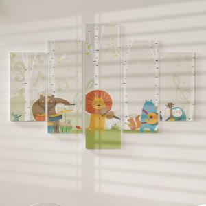 Quadro Decorativo Mosaico LUXO - Animais bonitos tocando os instrumentos musicais Excelente qualidade  em vinil autocolante telado LUXO 1,25mt X 0,65cm Impressão Digital MDF - VINIL TELADO LUXO CONTÉM 5 PEÇAS TODAS EM MDF 6mm e impressão digital