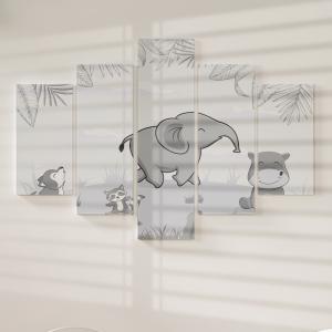 Quadro Decorativo Mosaico LUXO - Animais Cinzentos e as Palmeiras Excelente qualidade  em vinil autocolante telado LUXO 1,25mt X 0,65cm Impressão Digital MDF - VINIL TELADO LUXO CONTÉM 5 PEÇAS TODAS EM MDF 6mm e impressão digital