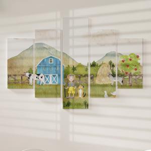 Quadro Decorativo Mosaico LUXO - animais da fazenda Excelente qualidade  em vinil autocolante telado LUXO 1,25mt X 0,65cm Impressão Digital MDF - VINIL TELADO LUXO CONTÉM 5 PEÇAS TODAS EM MDF 6mm e impressão digital