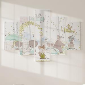 Quadro Decorativo Mosaico LUXO - Animais da floresta bem a tempo para a primavera Excelente qualidade  em vinil autocolante telado LUXO 1,25mt X 0,65cm Impressão Digital MDF - VINIL TELADO LUXO CONTÉM 5 PEÇAS TODAS EM MDF 6mm e impressão digital