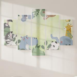 Quadro Decorativo Mosaico LUXO - Animais da selva Excelente qualidade  em vinil autocolante telado LUXO 1,25mt X 0,65cm Impressão Digital MDF - VINIL TELADO LUXO CONTÉM 5 PEÇAS TODAS EM MDF 6mm e impressão digital