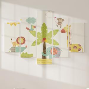 Quadro Decorativo Mosaico LUXO - Animais da selva bebê perto da palmeira Excelente qualidade  em vinil autocolante telado LUXO 1,25mt X 0,65cm Impressão Digital MDF - VINIL TELADO LUXO CONTÉM 5 PEÇAS TODAS EM MDF 6mm e impressão digital