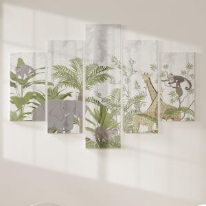 Quadro Decorativo Mosaico LUXO - animais da selva com vegetação tropical Excelente qualidade  em vinil autocolante telado LUXO 1,25mt X 0,65cm Impressão Digital MDF - VINIL TELADO LUXO CONTÉM 5 PEÇAS TODAS EM MDF 6mm e impressão digital