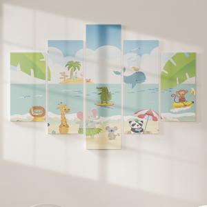 Quadro Decorativo Mosaico LUXO - Animais de praia Excelente qualidade  em vinil autocolante telado LUXO 1,25mt X 0,65cm Impressão Digital MDF - VINIL TELADO LUXO CONTÉM 5 PEÇAS TODAS EM MDF 6mm e impressão digital