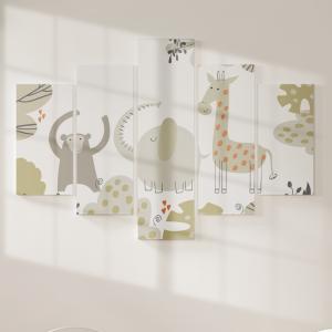 Quadro Decorativo Mosaico LUXO - Animais de safári e folhas Excelente qualidade  em vinil autocolante telado LUXO 1,25mt X 0,65cm Impressão Digital MDF - VINIL TELADO LUXO CONTÉM 5 PEÇAS TODAS EM MDF 6mm e impressão digital