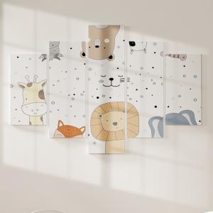 Quadro Decorativo Mosaico LUXO - Animais desenhos animados Excelente qualidade  em vinil autocolante telado LUXO 1,25mt X 0,65cm Impressão Digital MDF - VINIL TELADO LUXO CONTÉM 5 PEÇAS TODAS EM MDF 6mm e impressão digital