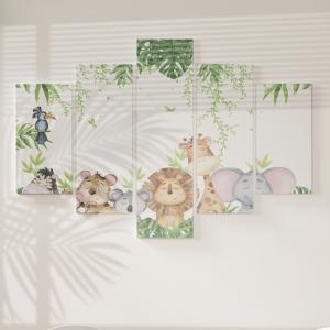 Quadro Decorativo Mosaico LUXO - Animais Do Safari Excelente qualidade  em vinil autocolante telado LUXO 1,25mt X 0,65cm Impressão Digital MDF - VINIL TELADO LUXO CONTÉM 5 PEÇAS TODAS EM MDF 6mm e impressão digital