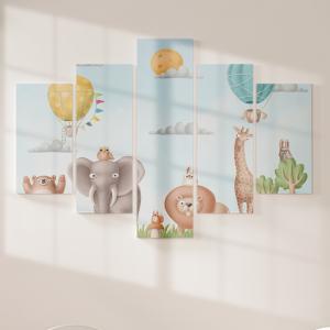Quadro Decorativo Mosaico LUXO - Animais do safari 3D Excelente qualidade  em vinil autocolante telado LUXO 1,25mt X 0,65cm Impressão Digital MDF - VINIL TELADO LUXO CONTÉM 5 PEÇAS TODAS EM MDF 6mm e impressão digital
