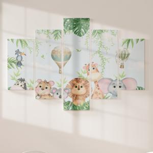 Quadro Decorativo Mosaico LUXO - Animais do Safari com Balões Excelente qualidade  em vinil autocolante telado LUXO 1,25mt X 0,65cm Impressão Digital MDF - VINIL TELADO LUXO CONTÉM 5 PEÇAS TODAS EM MDF 6mm e impressão digital