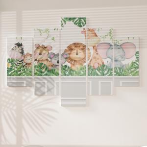 Quadro Decorativo Mosaico LUXO - Animais do Safari e Gesso Classico Excelente qualidade  em vinil autocolante telado LUXO 1,25mt X 0,65cm Impressão Digital MDF - VINIL TELADO LUXO CONTÉM 5 PEÇAS TODAS EM MDF 6mm e impressão digital