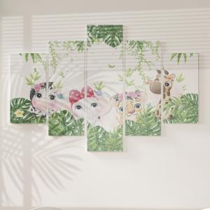 Quadro Decorativo Mosaico LUXO - Animais Do Safari Meninas Excelente qualidade  em vinil autocolante telado LUXO 1,25mt X 0,65cm Impressão Digital MDF - VINIL TELADO LUXO CONTÉM 5 PEÇAS TODAS EM MDF 6mm e impressão digital