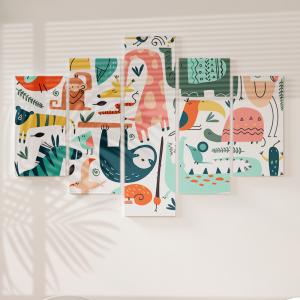 Quadro Decorativo Mosaico LUXO - Animais Doodle Safari Africano Excelente qualidade  em vinil autocolante telado LUXO 1,25mt X 0,65cm Impressão Digital MDF - VINIL TELADO LUXO CONTÉM 5 PEÇAS TODAS EM MDF 6mm e impressão digital