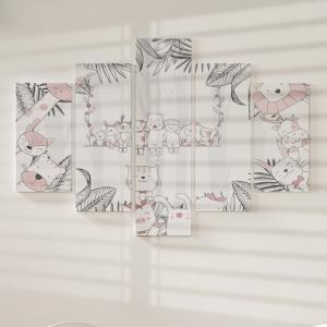 Quadro Decorativo Mosaico LUXO - Animais dos desenhos animados Excelente qualidade  em vinil autocolante telado LUXO 1,25mt X 0,65cm Impressão Digital MDF - VINIL TELADO LUXO CONTÉM 5 PEÇAS TODAS EM MDF 6mm e impressão digital