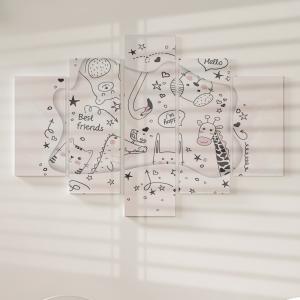 Quadro Decorativo Mosaico LUXO - Animais dos desenhos animados Doodle Excelente qualidade  em vinil autocolante telado LUXO 1,25mt X 0,65cm Impressão Digital MDF - VINIL TELADO LUXO CONTÉM 5 PEÇAS TODAS EM MDF 6mm e impressão digital