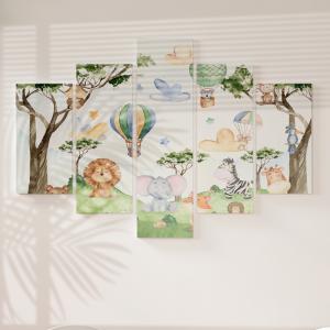 Quadro Decorativo Mosaico LUXO - Animais em aquarela da floresta Excelente qualidade  em vinil autocolante telado LUXO 1,25mt X 0,65cm Impressão Digital MDF - VINIL TELADO LUXO CONTÉM 5 PEÇAS TODAS EM MDF 6mm e impressão digital