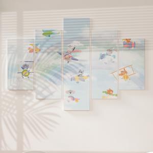 Quadro Decorativo Mosaico LUXO - Animais fofos  aviador Excelente qualidade  em vinil autocolante telado LUXO 1,25mt X 0,65cm Impressão Digital MDF - VINIL TELADO LUXO CONTÉM 5 PEÇAS TODAS EM MDF 6mm e impressão digital