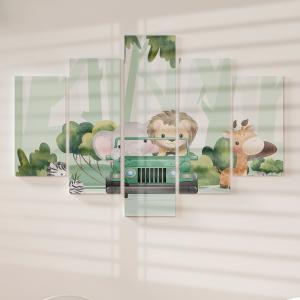 Quadro Decorativo Mosaico LUXO - Animais Fofos de Safári Excelente qualidade  em vinil autocolante telado LUXO 1,25mt X 0,65cm Impressão Digital MDF - VINIL TELADO LUXO CONTÉM 5 PEÇAS TODAS EM MDF 6mm e impressão digital