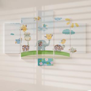 Quadro Decorativo Mosaico LUXO - Animais fofos e felizes Excelente qualidade  em vinil autocolante telado LUXO 1,25mt X 0,65cm Impressão Digital MDF - VINIL TELADO LUXO CONTÉM 5 PEÇAS TODAS EM MDF 6mm e impressão digital