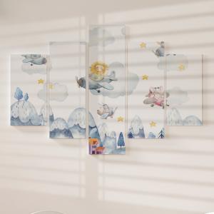Quadro Decorativo Mosaico LUXO - Animais Fofos em Aviões Voando Excelente qualidade  em vinil autocolante telado LUXO 1,25mt X 0,65cm Impressão Digital MDF - VINIL TELADO LUXO CONTÉM 5 PEÇAS TODAS EM MDF 6mm e impressão digital