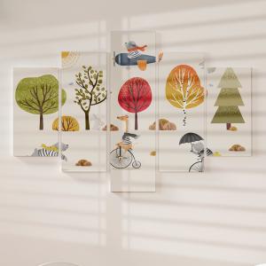 Quadro Decorativo Mosaico LUXO - Animais Fofos no outono Excelente qualidade  em vinil autocolante telado LUXO 1,25mt X 0,65cm Impressão Digital MDF - VINIL TELADO LUXO CONTÉM 5 PEÇAS TODAS EM MDF 6mm e impressão digital