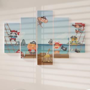 Quadro Decorativo Mosaico LUXO - Animais fofos piratas no convés do navio Excelente qualidade  em vinil autocolante telado LUXO 1,25mt X 0,65cm Impressão Digital MDF - VINIL TELADO LUXO CONTÉM 5 PEÇAS TODAS EM MDF 6mm e impressão digital