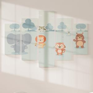 Quadro Decorativo Mosaico LUXO - Animais Mais que Fofo Excelente qualidade  em vinil autocolante telado LUXO 1,25mt X 0,65cm Impressão Digital MDF - VINIL TELADO LUXO CONTÉM 5 PEÇAS TODAS EM MDF 6mm e impressão digital
