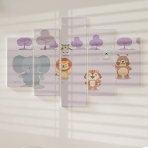 Quadro Decorativo Mosaico LUXO - Animais mais que fofos lilás Excelente qualidade  em vinil autocolante telado LUXO 1,25mt X 0,65cm Impressão Digital MDF - VINIL TELADO LUXO CONTÉM 5 PEÇAS TODAS EM MDF 6mm e impressão digital