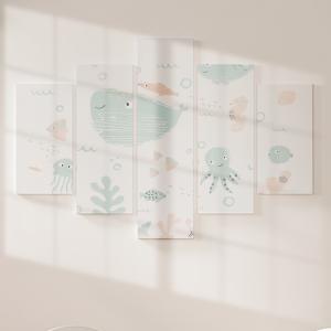 Quadro Decorativo Mosaico LUXO - Animais marinhos doces Excelente qualidade  em vinil autocolante telado LUXO 1,25mt X 0,65cm Impressão Digital MDF - VINIL TELADO LUXO CONTÉM 5 PEÇAS TODAS EM MDF 6mm e impressão digital