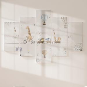 Quadro Decorativo Mosaico LUXO - Animais na Corda Mod. 1 Excelente qualidade  em vinil autocolante telado LUXO 1,25mt X 0,65cm Impressão Digital MDF - VINIL TELADO LUXO CONTÉM 5 PEÇAS TODAS EM MDF 6mm e impressão digital