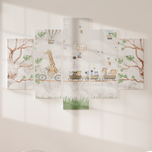 Quadro Decorativo Mosaico LUXO - Animais na Corda Mod. 2 Excelente qualidade  em vinil autocolante telado LUXO 1,25mt X 0,65cm Impressão Digital MDF - VINIL TELADO LUXO CONTÉM 5 PEÇAS TODAS EM MDF 6mm e impressão digital