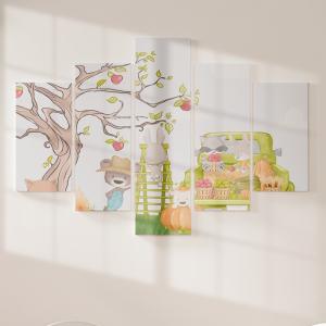 Quadro Decorativo Mosaico LUXO - Animais na fazendinha Excelente qualidade  em vinil autocolante telado LUXO 1,25mt X 0,65cm Impressão Digital MDF - VINIL TELADO LUXO CONTÉM 5 PEÇAS TODAS EM MDF 6mm e impressão digital