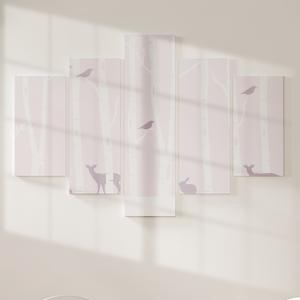 Quadro Decorativo Mosaico LUXO - Animais na floresta rosa Excelente qualidade  em vinil autocolante telado LUXO 1,25mt X 0,65cm Impressão Digital MDF - VINIL TELADO LUXO CONTÉM 5 PEÇAS TODAS EM MDF 6mm e impressão digital