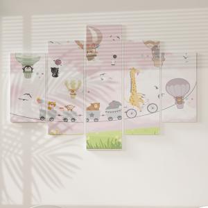 Quadro Decorativo Mosaico LUXO - Animais no Balão Excelente qualidade  em vinil autocolante telado LUXO 1,25mt X 0,65cm Impressão Digital MDF - VINIL TELADO LUXO CONTÉM 5 PEÇAS TODAS EM MDF 6mm e impressão digital
