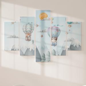 Quadro Decorativo Mosaico LUXO - Animais no Balão 3D Excelente qualidade  em vinil autocolante telado LUXO 1,25mt X 0,65cm Impressão Digital MDF - VINIL TELADO LUXO CONTÉM 5 PEÇAS TODAS EM MDF 6mm e impressão digital