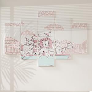 Quadro Decorativo Mosaico LUXO - Animais no Barco rosa Excelente qualidade  em vinil autocolante telado LUXO 1,25mt X 0,65cm Impressão Digital MDF - VINIL TELADO LUXO CONTÉM 5 PEÇAS TODAS EM MDF 6mm e impressão digital