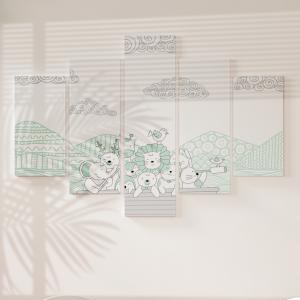 Quadro Decorativo Mosaico LUXO - Animais no Barco Verde Excelente qualidade  em vinil autocolante telado LUXO 1,25mt X 0,65cm Impressão Digital MDF - VINIL TELADO LUXO CONTÉM 5 PEÇAS TODAS EM MDF 6mm e impressão digital