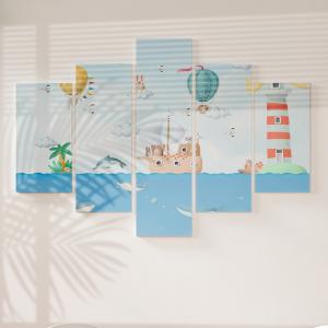 Quadro Decorativo Mosaico LUXO - Animais no Oceano 3D Excelente qualidade  em vinil autocolante telado LUXO 1,25mt X 0,65cm Impressão Digital MDF - VINIL TELADO LUXO CONTÉM 5 PEÇAS TODAS EM MDF 6mm e impressão digital