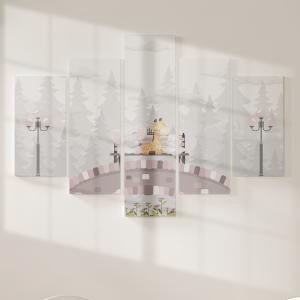 Quadro Decorativo Mosaico LUXO - Animais no Parque Excelente qualidade  em vinil autocolante telado LUXO 1,25mt X 0,65cm Impressão Digital MDF - VINIL TELADO LUXO CONTÉM 5 PEÇAS TODAS EM MDF 6mm e impressão digital