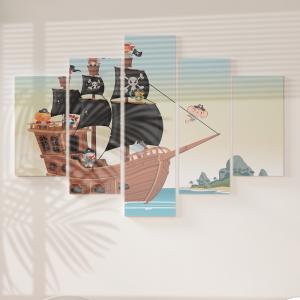 Quadro Decorativo Mosaico LUXO - Animais piratas em um navio no mar Excelente qualidade  em vinil autocolante telado LUXO 1,25mt X 0,65cm Impressão Digital MDF - VINIL TELADO LUXO CONTÉM 5 PEÇAS TODAS EM MDF 6mm e impressão digital