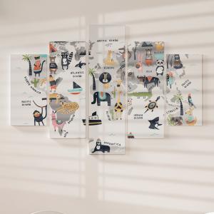 Quadro Decorativo Mosaico LUXO - Animal Mapa mundi em estilo escandinavo Excelente qualidade  em vinil autocolante telado LUXO 1,25mt X 0,65cm Impressão Digital MDF - VINIL TELADO LUXO CONTÉM 5 PEÇAS TODAS EM MDF 6mm e impressão digital