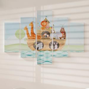 Quadro Decorativo Mosaico LUXO - Aquarela infantil de uma arca de Noé Excelente qualidade  em vinil autocolante telado LUXO 1,25mt X 0,65cm Impressão Digital MDF - VINIL TELADO LUXO CONTÉM 5 PEÇAS TODAS EM MDF 6mm e impressão digital