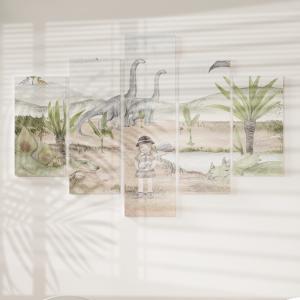 Quadro Decorativo Mosaico LUXO - Aquarela Menina em Meio aos Dinossauros Excelente qualidade  em vinil autocolante telado LUXO 1,25mt X 0,65cm Impressão Digital MDF - VINIL TELADO LUXO CONTÉM 5 PEÇAS TODAS EM MDF 6mm e impressão digital