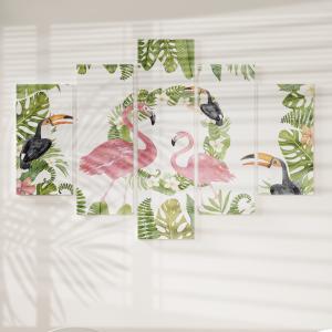 Quadro Decorativo Mosaico LUXO - aquarela tropical verão Excelente qualidade  em vinil autocolante telado LUXO 1,25mt X 0,65cm Impressão Digital MDF - VINIL TELADO LUXO CONTÉM 5 PEÇAS TODAS EM MDF 6mm e impressão digital