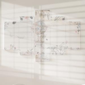 Quadro Decorativo Mosaico LUXO - aquarelas Coelhinhos Excelente qualidade  em vinil autocolante telado LUXO 1,25mt X 0,65cm Impressão Digital MDF - VINIL TELADO LUXO CONTÉM 5 PEÇAS TODAS EM MDF 6mm e impressão digital