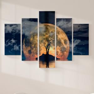 Quadro Decorativo Mosaico LUXO - Árvore em um encontro com a lua Excelente qualidade  em vinil autocolante telado LUXO 1,25mt X 0,65cm Impressão Digital MDF - VINIL TELADO LUXO CONTÉM 5 PEÇAS TODAS EM MDF 6mm e impressão digital