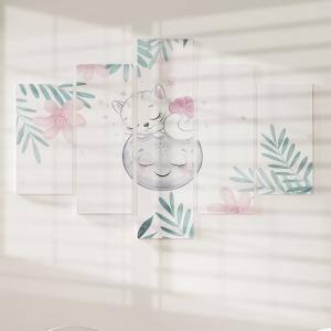 Quadro Decorativo Mosaico LUXO - As Flores a Gatinha e a Lua Excelente qualidade  em vinil autocolante telado LUXO 1,25mt X 0,65cm Impressão Digital MDF - VINIL TELADO LUXO CONTÉM 5 PEÇAS TODAS EM MDF 6mm e impressão digital
